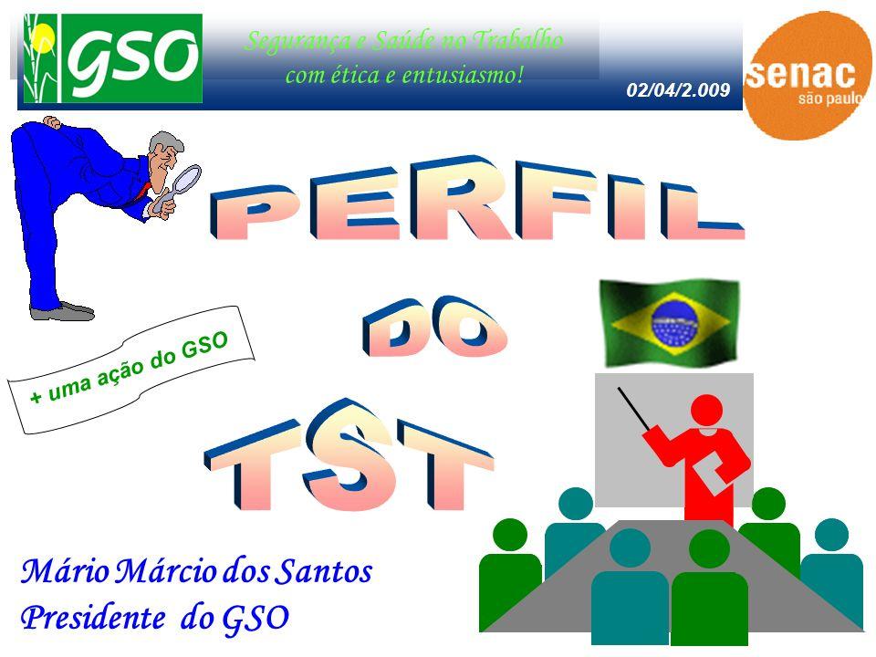 Segurança e Saúde no Trabalho com ética e entusiasmo! Mário Márcio dos Santos Presidente do GSO 02/04/2.009 + uma ação do GSO