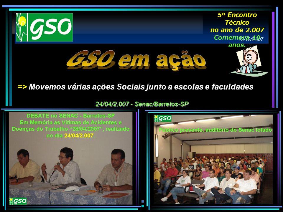 => Movemos várias ações Sociais junto a escolas e faculdades 24/04/2.007 - Senac/Barretos-SP 12/12/2.007 5º Encontro Técnico no ano de 2.007 Comemora