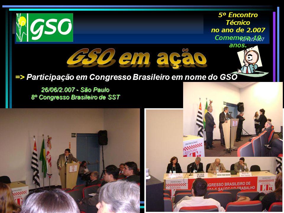 => Participação em Congresso Brasileiro em nome do GSO 26/06/2.007 - São Paulo 8º Congresso Brasileiro de SST 12/12/2.007 5º Encontro Técnico no ano d