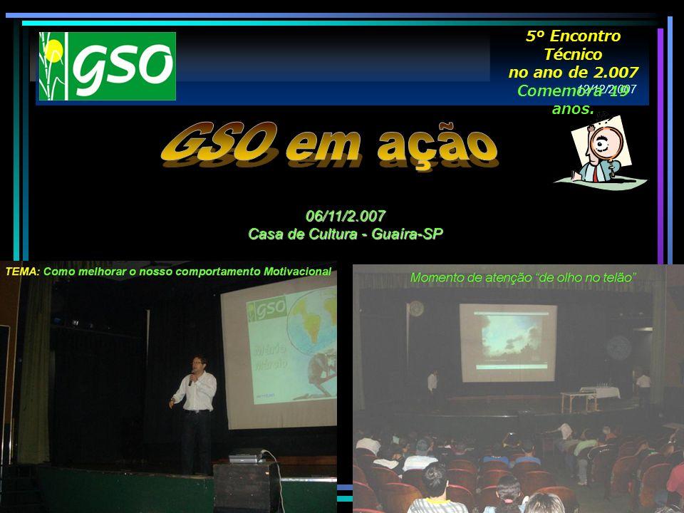 06/11/2.007 Casa de Cultura - Guaíra-SP 12/12/2.007 5º Encontro Técnico no ano de 2.007 Comemora 19 anos.