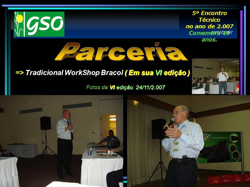 ( Em sua VI edição ) => Tradicional WorkShop Bracol ( Em sua VI edição ) VI edição24/11/2.007 Fotos da VI edição: 24/11/2.007 12/12/2.007 5º Encontro