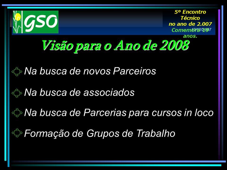 Formação de Grupos de Trabalho Visão para o Ano de 2008 Na busca de novos Parceiros Na busca de associados Na busca de Parcerias para cursos in loco 1