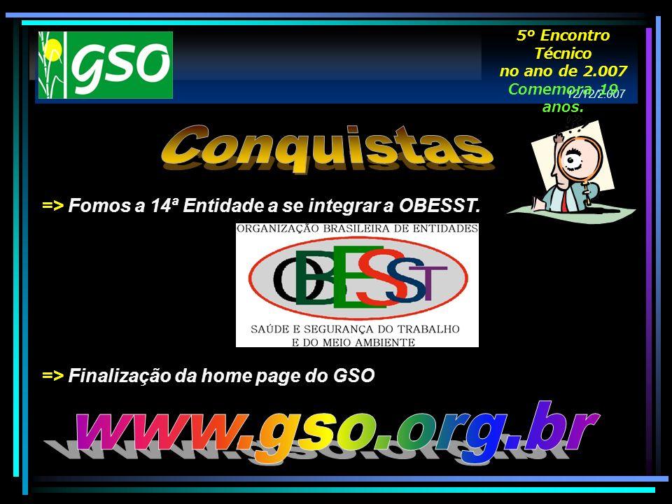 => Fomos a 14ª Entidade a se integrar a OBESST. => Finalização da home page do GSO 12/12/2.007 5º Encontro Técnico no ano de 2.007 Comemora 19 anos.