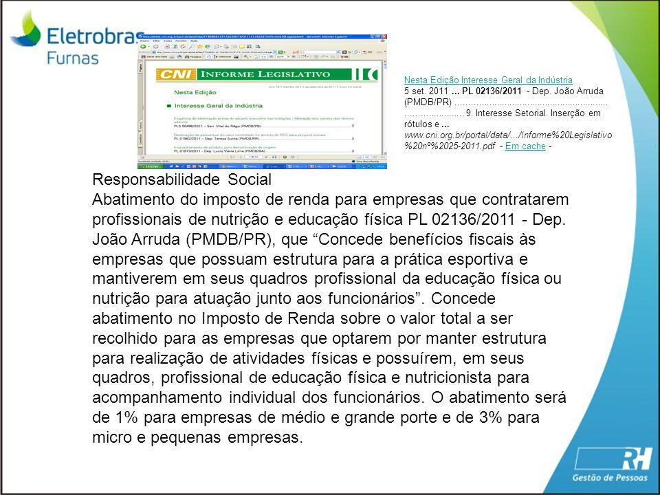 Responsabilidade Social Abatimento do imposto de renda para empresas que contratarem profissionais de nutrição e educação física PL 02136/2011 - Dep.
