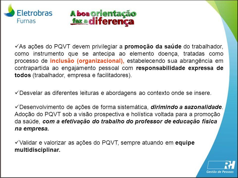 As ações do PQVT devem privilegiar a promoção da saúde do trabalhador, como instrumento que se antecipa ao elemento doença, tratadas como processo de