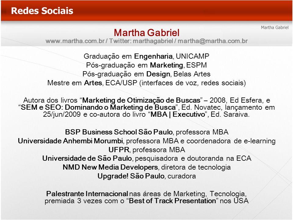 Martha Gabriel www.martha.com.br / Twitter: marthagabriel / martha@martha.com.br Graduação em Engenharia, UNICAMP Pós-graduação em Marketing, ESPM Pós
