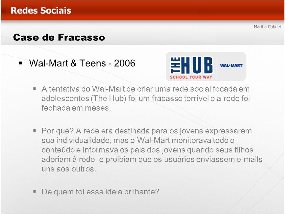 Case de Fracasso Wal-Mart & Teens - 2006 A tentativa do Wal-Mart de criar uma rede social focada em adolescentes (The Hub) foi um fracasso terrível e