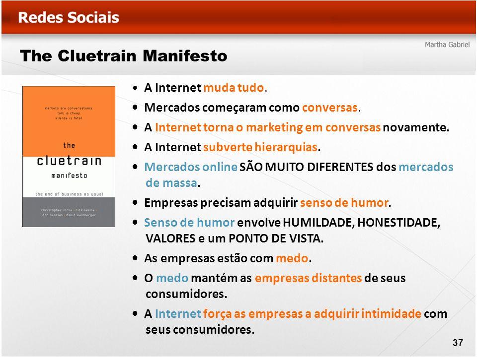 The Cluetrain Manifesto A Internet muda tudo. Mercados começaram como conversas. A Internet torna o marketing em conversas novamente. A Internet subve