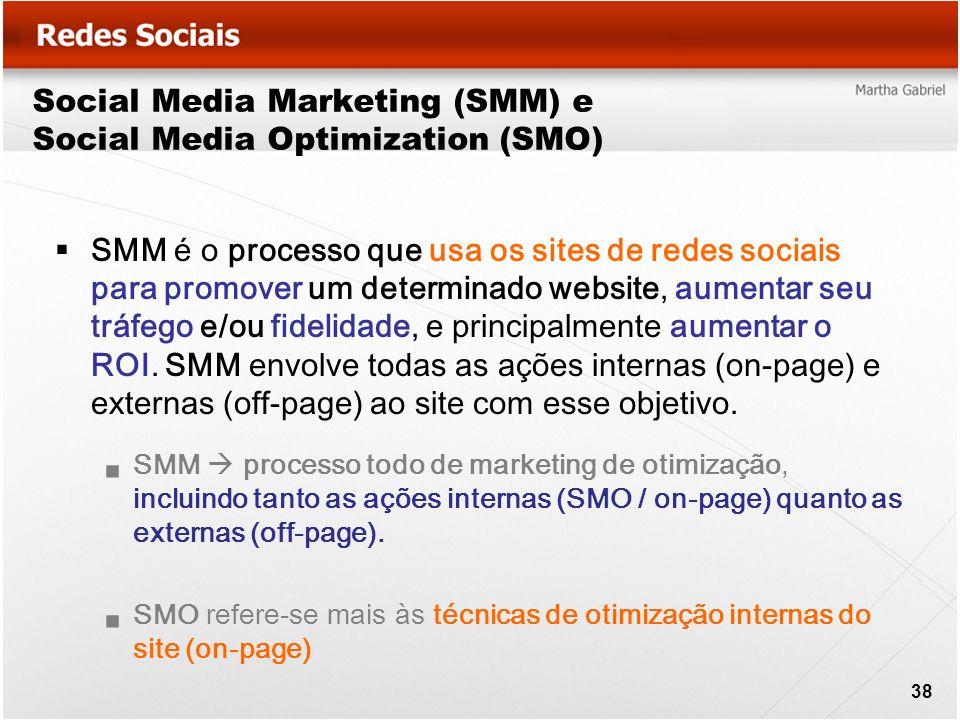 Social Media Marketing (SMM) e Social Media Optimization (SMO) SMM é o processo que usa os sites de redes sociais para promover um determinado website