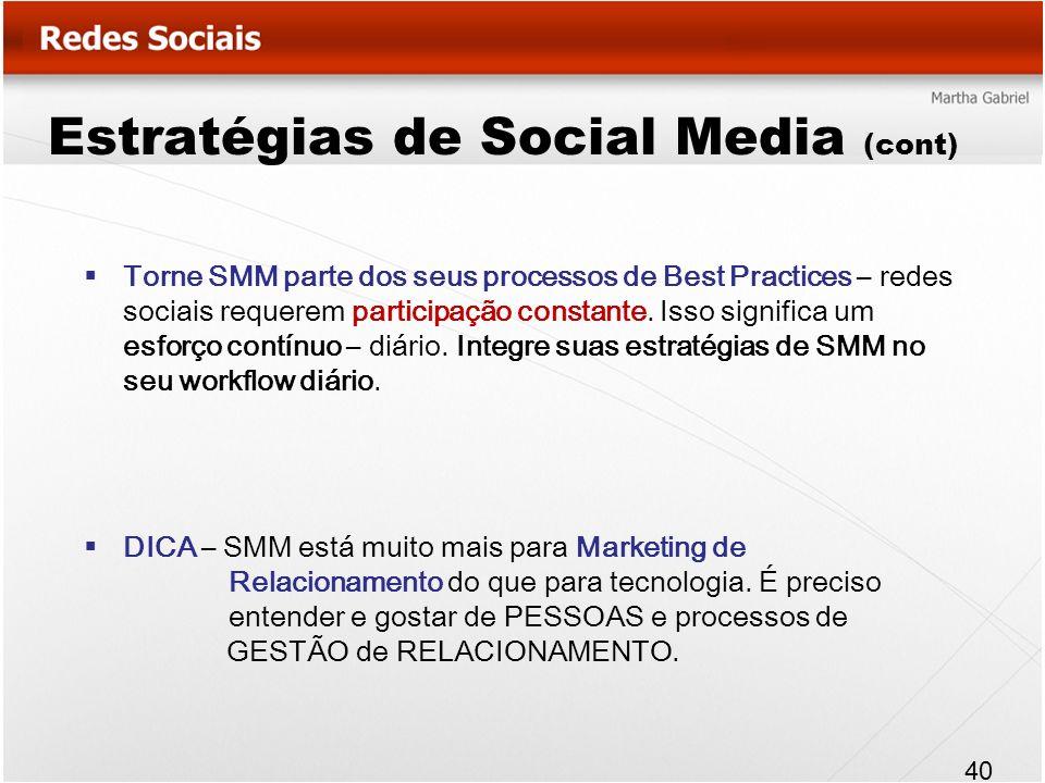 Estratégias de Social Media (cont) Torne SMM parte dos seus processos de Best Practices – redes sociais requerem participação constante. Isso signific