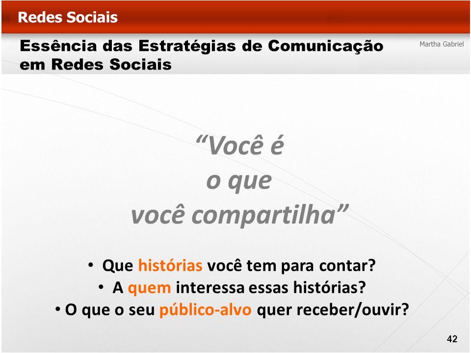 Essência das Estratégias de Comunicação em Redes Sociais Você é o que você compartilha Que histórias você tem para contar? A quem interessa essas hist