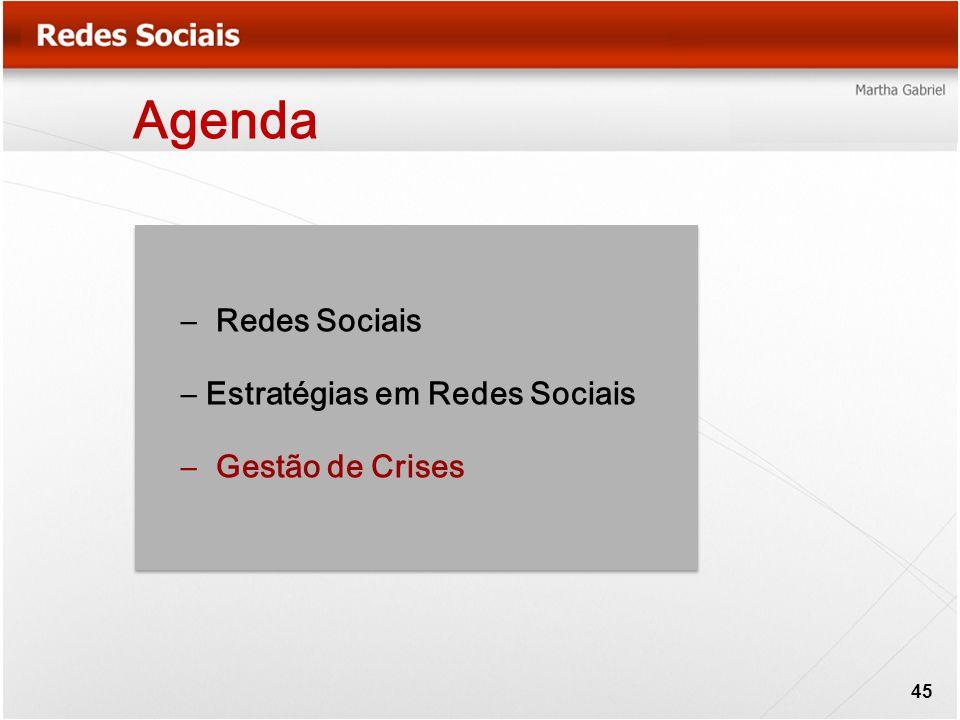 Agenda – Redes Sociais – Estratégias em Redes Sociais – Gestão de Crises 45