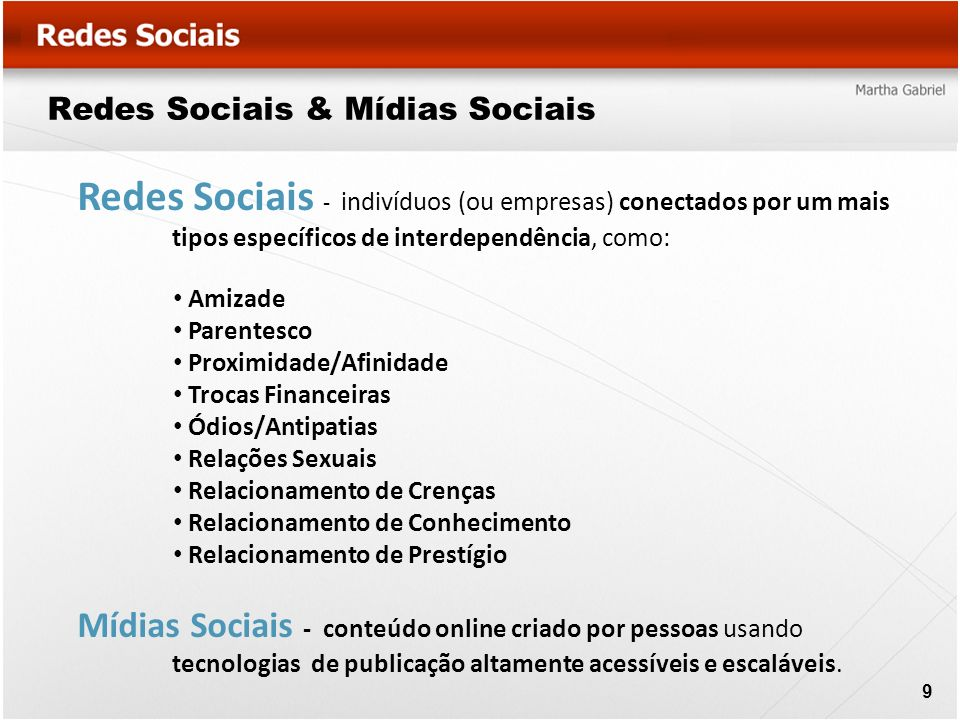 Redes Sociais & Mídias Sociais Redes Sociais - indivíduos (ou empresas) conectados por um mais tipos específicos de interdependência, como: Amizade Pa