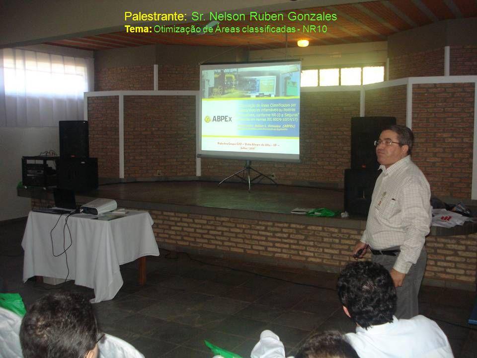 Palestrante: Sr. Nelson Ruben Gonzales Tema: Otimização de Áreas classificadas - NR10