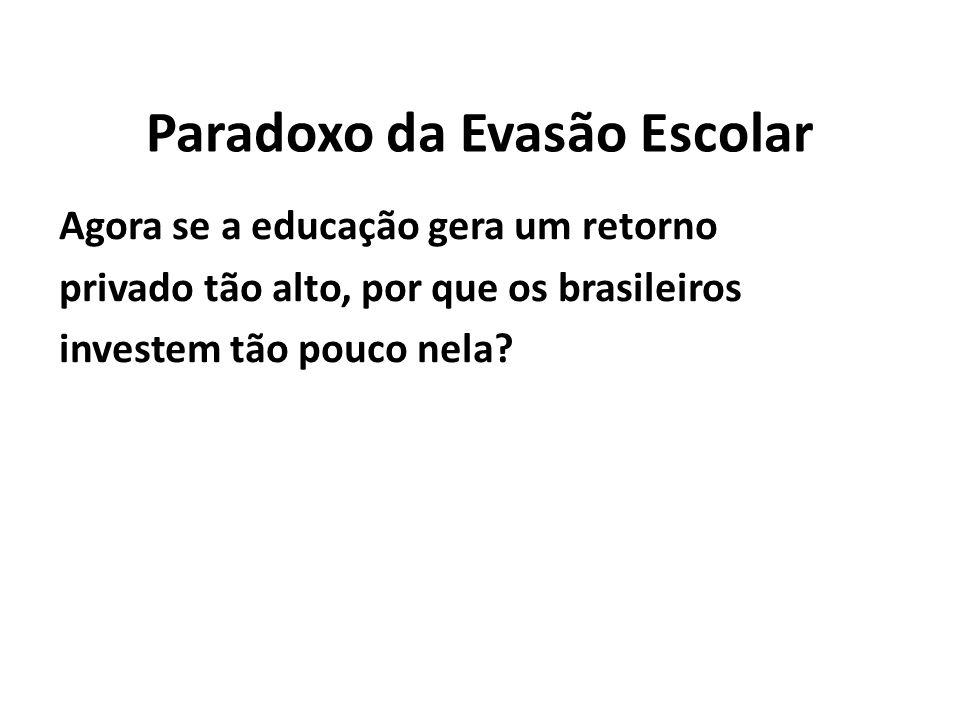 Paradoxo da Evasão Escolar Agora se a educação gera um retorno privado tão alto, por que os brasileiros investem tão pouco nela?