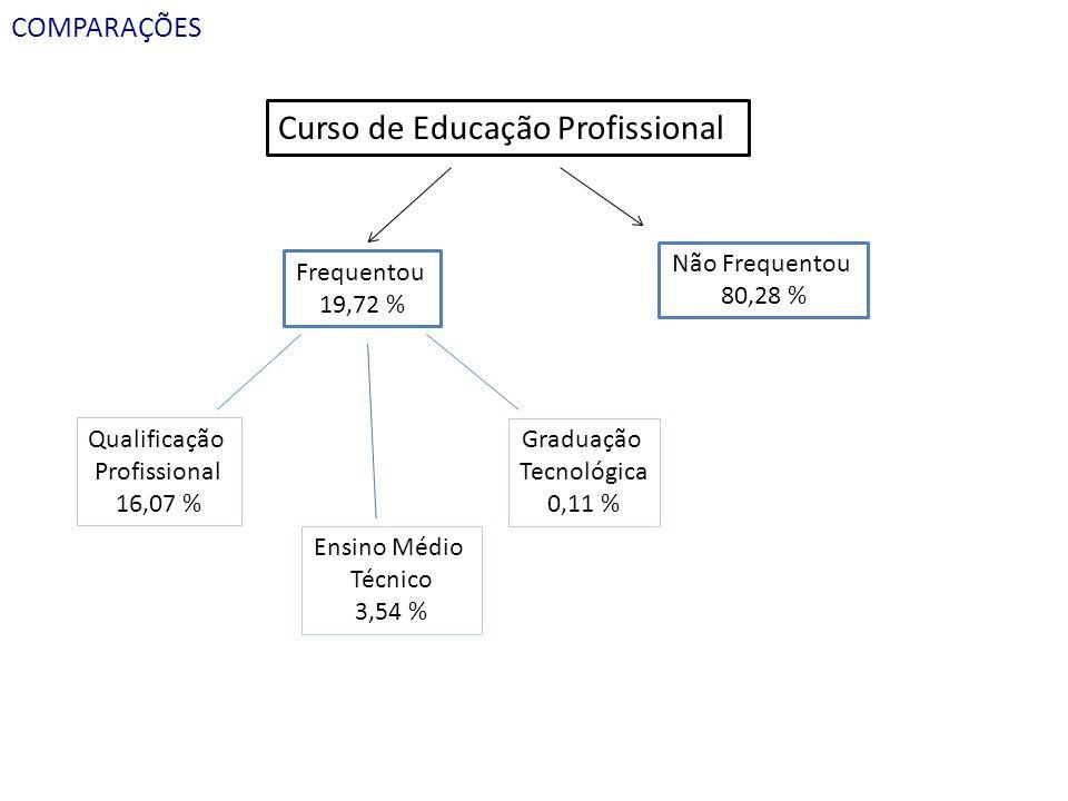 COMPARAÇÕES Curso de Educação Profissional Frequentou 19,72 % Não Frequentou 80,28 % Qualificação Profissional 16,07 % Ensino Médio Técnico 3,54 % Gra