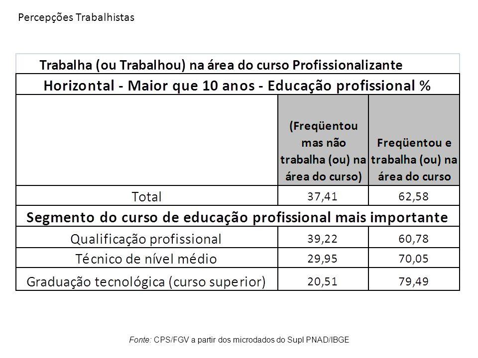 Percepções Trabalhistas Fonte: CPS/FGV a partir dos microdados do Supl PNAD/IBGE