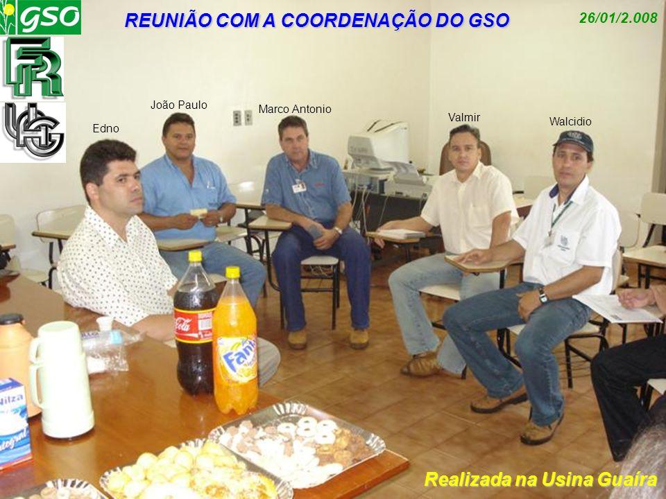 REUNIÃO COM A COORDENAÇÃO DO GSO Realizada na Usina Guaíra 26/01/2.008 Edno João Paulo Marco Antonio Valmir Walcidio