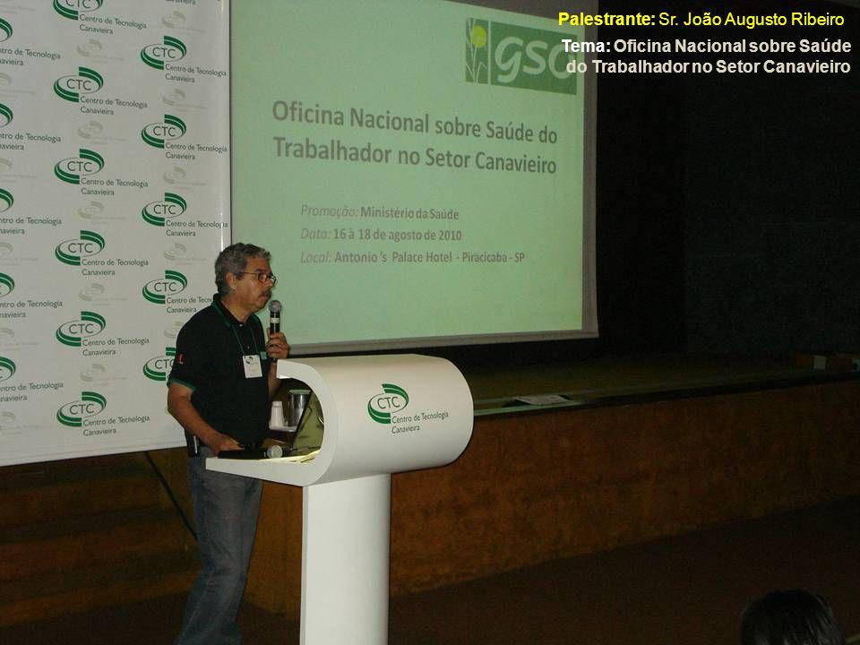 Palestrante: Sr. João Augusto Ribeiro Tema: Oficina Nacional sobre Saúde do Trabalhador no Setor Canavieiro