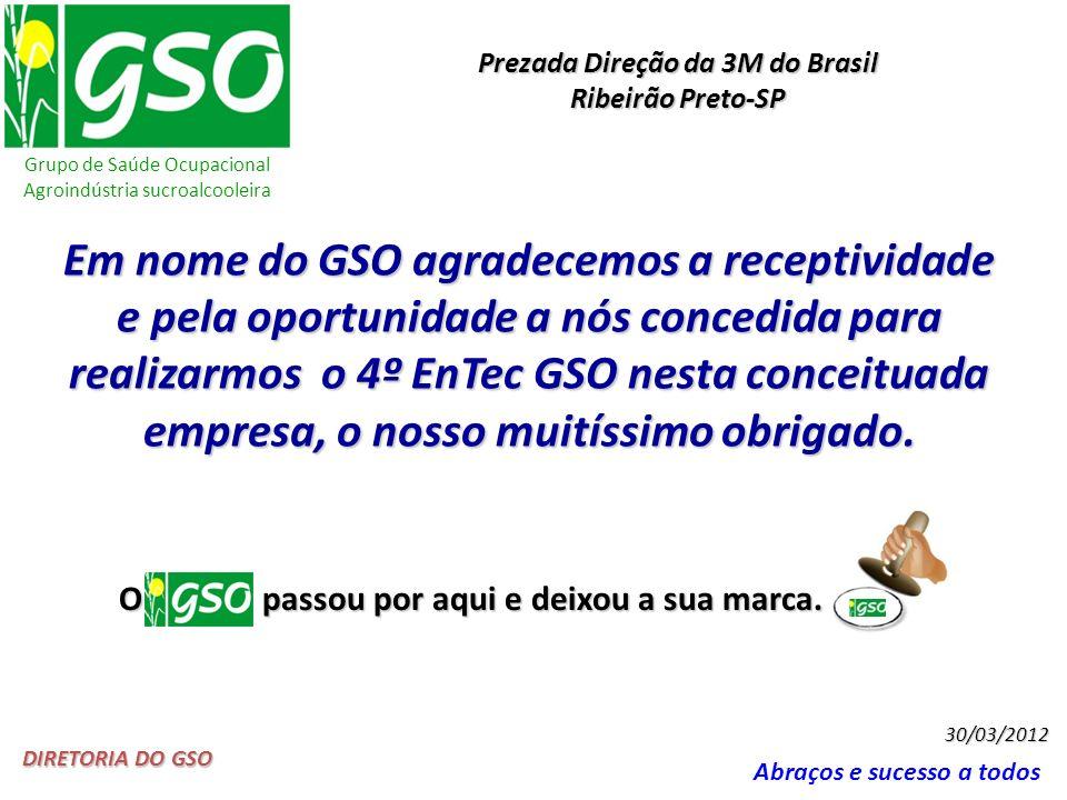 Grupo de Saúde Ocupacional Agroindústria sucroalcooleira Abraços e sucesso a todos DIRETORIA DO GSO 30/03/2012 Em nome do GSO agradecemos a receptivid