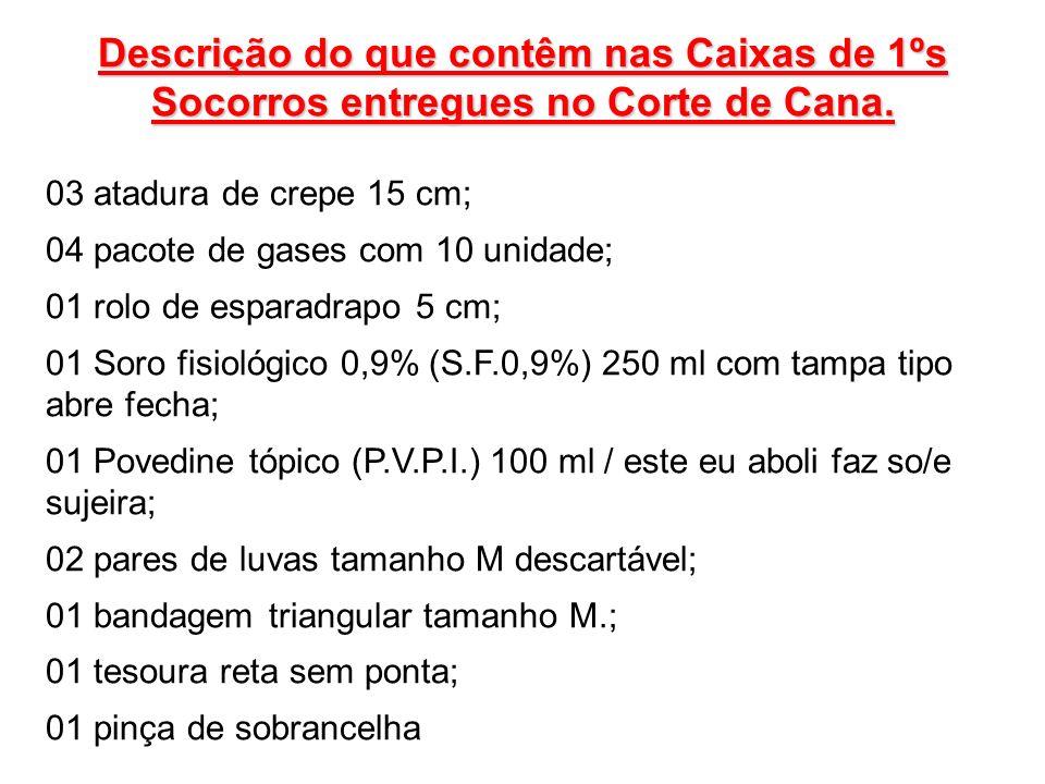 Descrição do que contêm nas Caixas de 1ºs Socorros entregues no Corte de Cana. 03 atadura de crepe 15 cm; 04 pacote de gases com 10 unidade; 01 rolo d
