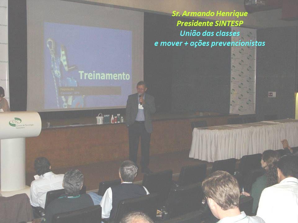 Sr. Armando Henrique Presidente SINTESP União das classes e mover + ações prevencionistas