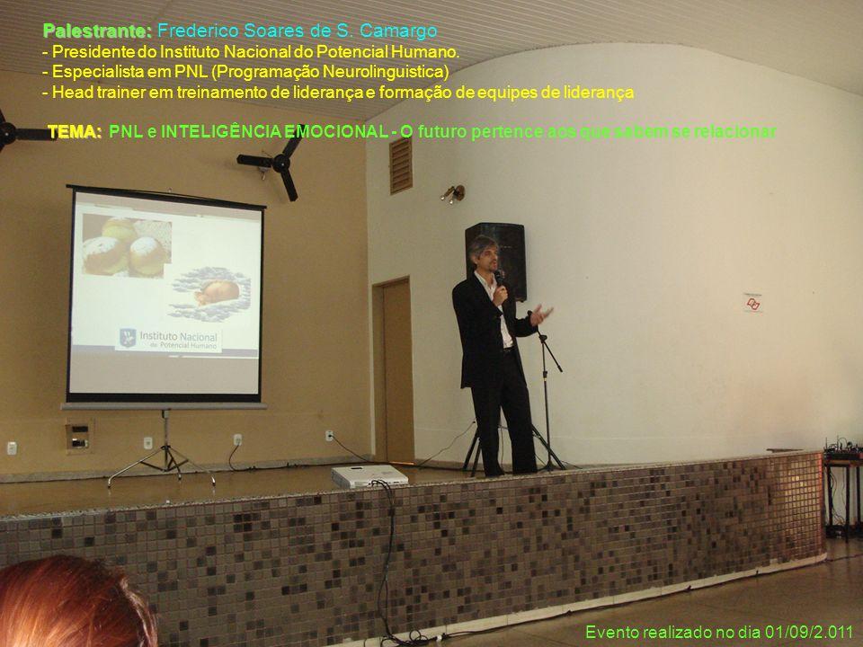 Palestrante: Palestrante: Frederico Soares de S. Camargo - Presidente do Instituto Nacional do Potencial Humano. - Especialista em PNL (Programação Ne