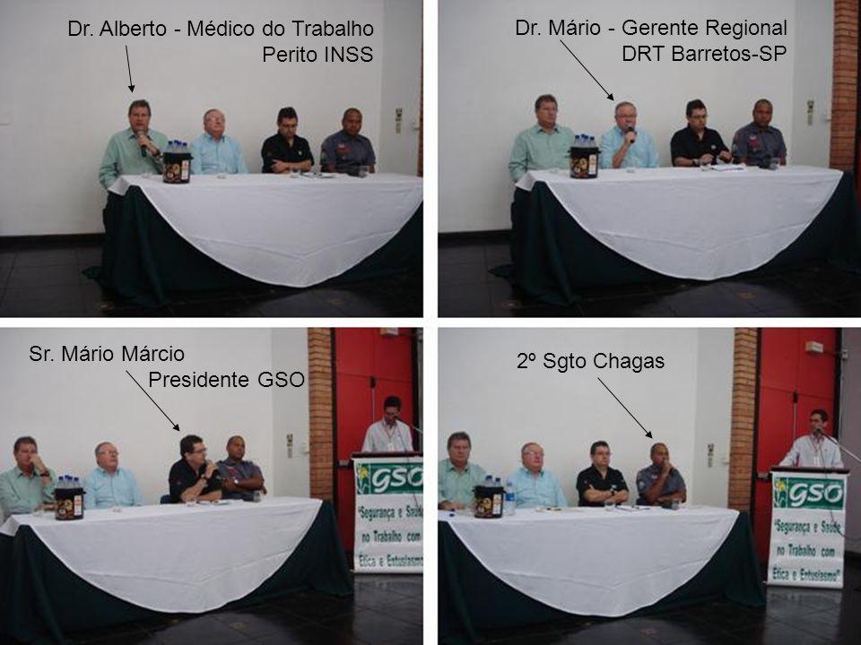 Dr. Alberto - Médico do Trabalho Perito INSS Dr. Mário - Gerente Regional DRT Barretos-SP Sr. Mário Márcio Presidente GSO 2º Sgto Chagas