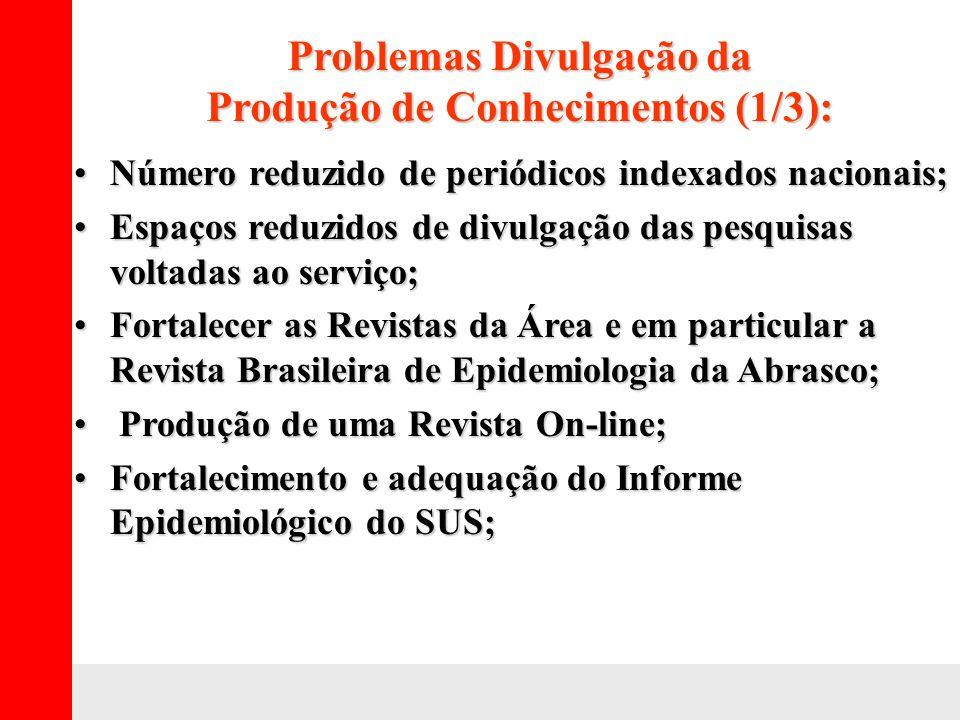 Problemas Divulgação da Produção de Conhecimentos (1/3): Número reduzido de periódicos indexados nacionais;Número reduzido de periódicos indexados nac
