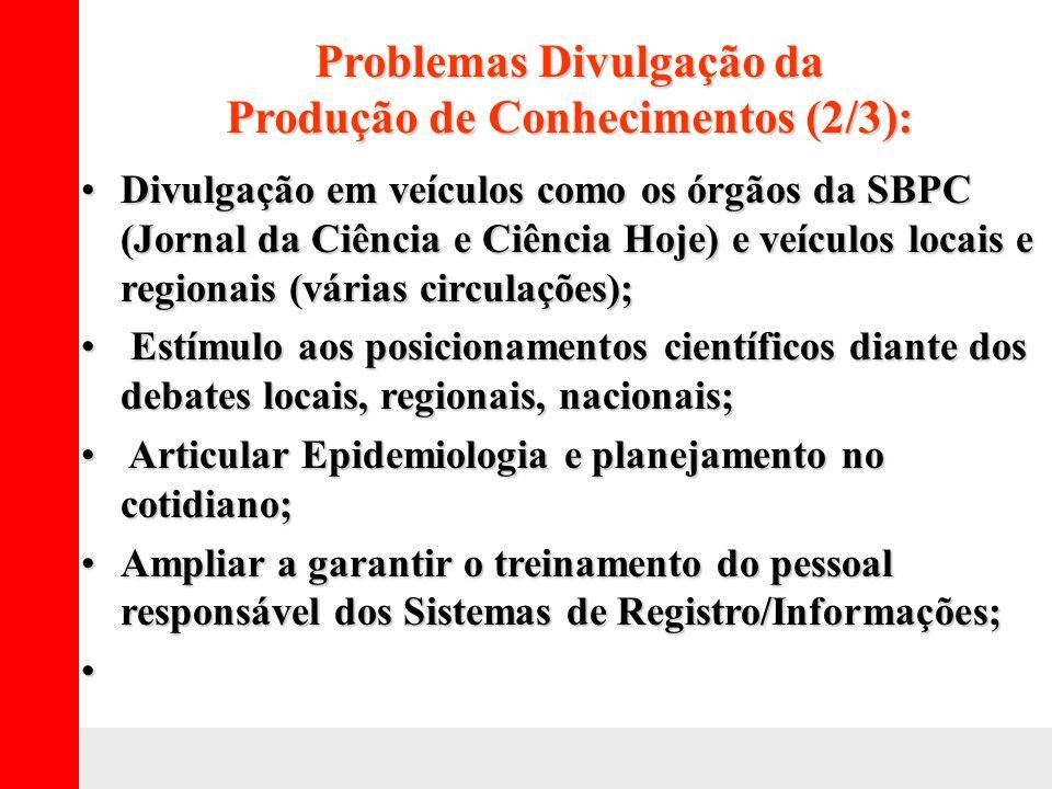 Problemas Divulgação da Produção de Conhecimentos (2/3): Divulgação em veículos como os órgãos da SBPC (Jornal da Ciência e Ciência Hoje) e veículos l