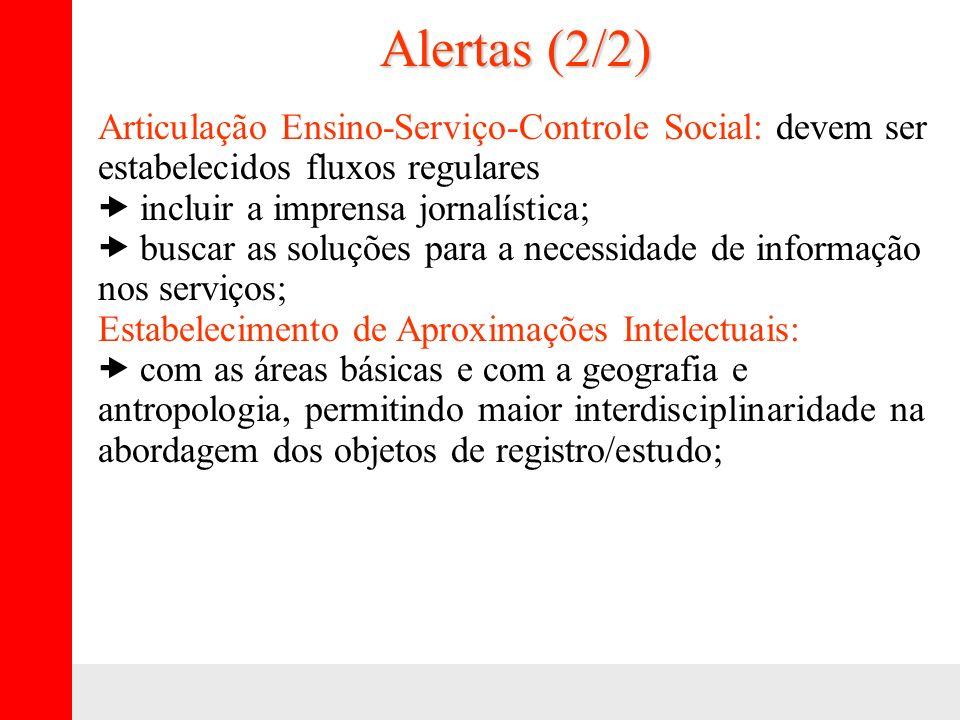Alertas (2/2) Articulação Ensino-Serviço-Controle Social: devem ser estabelecidos fluxos regulares – incluir a imprensa jornalística; – buscar as solu