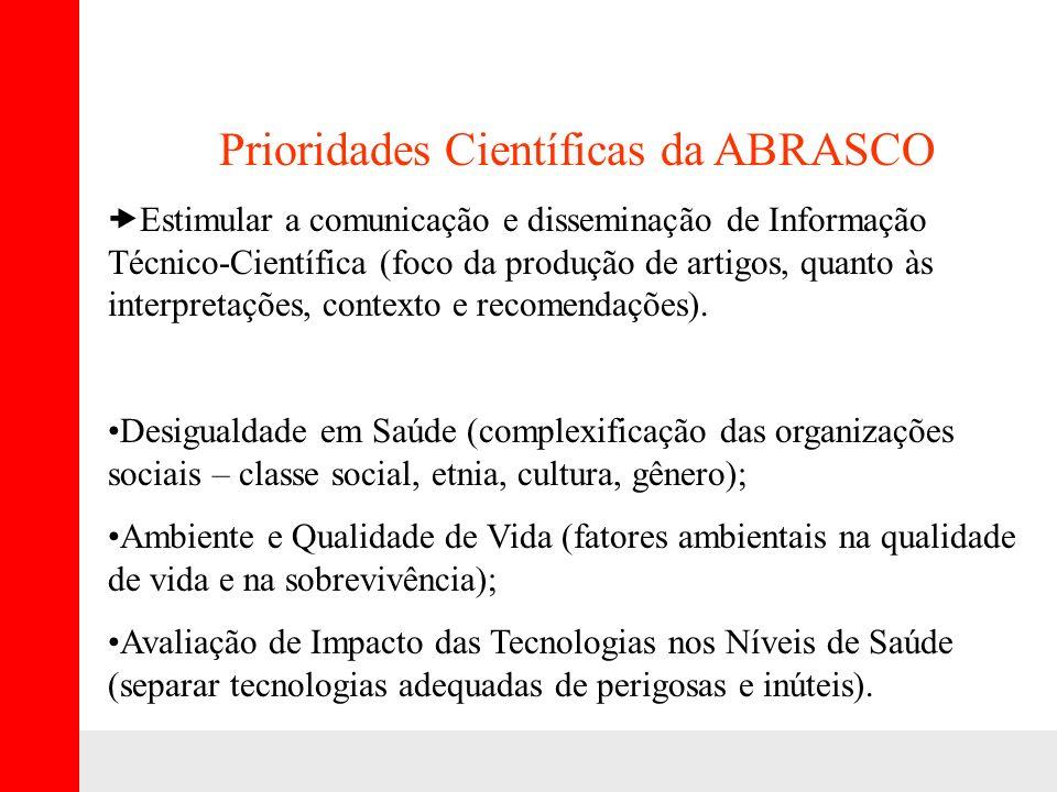 Prioridades Científicas da ABRASCO Estimular a comunicação e disseminação de Informação Técnico-Científica (foco da produção de artigos, quanto às interpretações, contexto e recomendações).