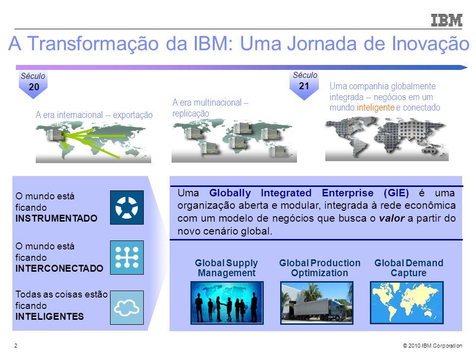 © 2010 IBM Corporation Uma companhia globalmente integrada -- negócios em um mundo inteligente e conectado A era multinacional -- replicação A era int
