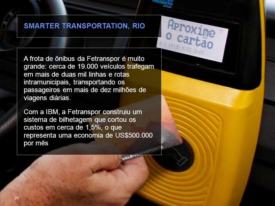 © 2010 IBM Corporation Fazendo Cidades mais Inteligentes 29 A frota de ônibus da Fetranspor é muito grande: cerca de 19.000 veículos trafegam em mais