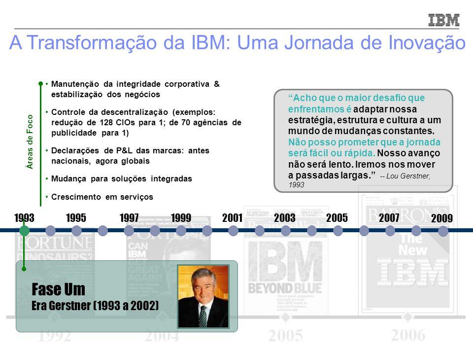 © 2010 IBM Corporation3 Fase Um Era Gerstner (1993 a 2002) 19931995199719992001200320052007 Manutenção da integridade corporativa & estabilização dos