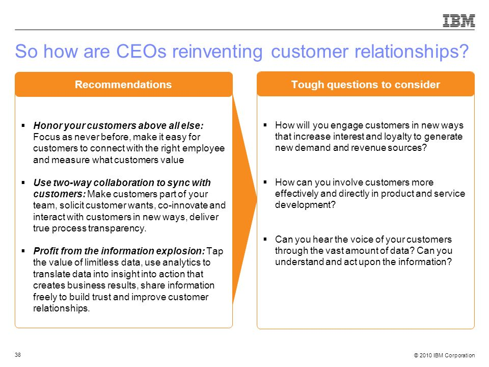 © 2010 IBM Corporation 38 So how are CEOs reinventing customer relationships? Honor your customers above all else: Focus as never before, make it easy