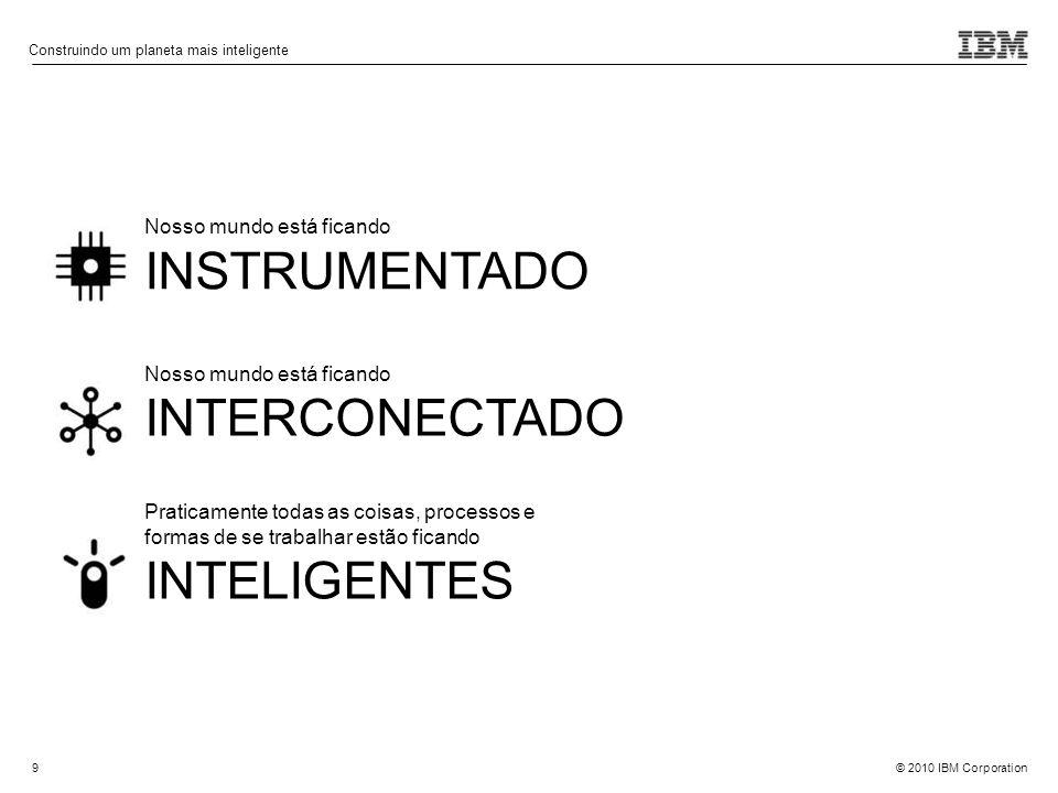 © 2010 IBM Corporation9 Nosso mundo está ficando INSTRUMENTADO Nosso mundo está ficando INTERCONECTADO Praticamente todas as coisas, processos e forma