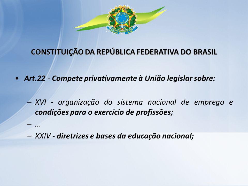 Art.22 - Compete privativamente à União legislar sobre: –XVI - organização do sistema nacional de emprego e condições para o exercício de profissões;