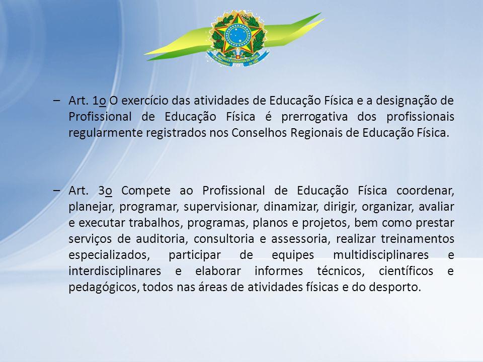 –Art. 1o O exercício das atividades de Educação Física e a designação de Profissional de Educação Física é prerrogativa dos profissionais regularmente