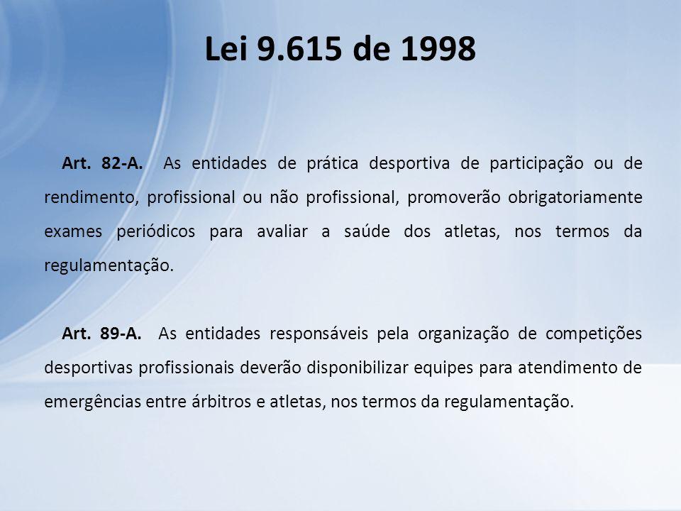 Lei 9.615 de 1998 Art. 82-A. As entidades de prática desportiva de participação ou de rendimento, profissional ou não profissional, promoverão obrigat