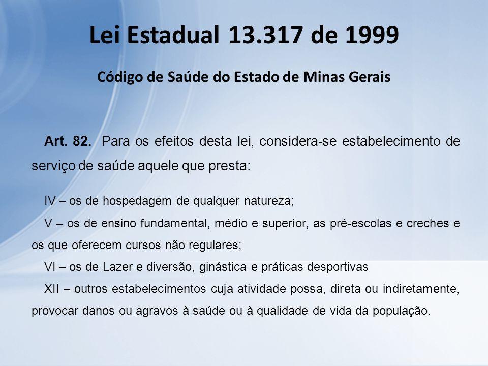 Lei Estadual 13.317 de 1999 Código de Saúde do Estado de Minas Gerais Art. 82. Para os efeitos desta lei, considera-se estabelecimento de serviço de s