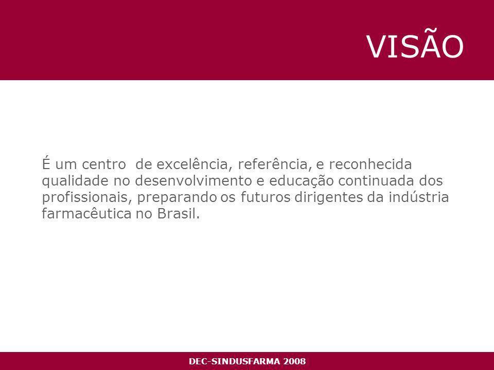 VISÃO É um centro de excelência, referência, e reconhecida qualidade no desenvolvimento e educação continuada dos profissionais, preparando os futuros dirigentes da indústria farmacêutica no Brasil.