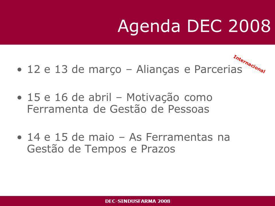 DEC-SINDUSFARMA 2008 Agenda DEC 2008 12 e 13 de março – Alianças e Parcerias 15 e 16 de abril – Motivação como Ferramenta de Gestão de Pessoas 14 e 15 de maio – As Ferramentas na Gestão de Tempos e Prazos Internacional