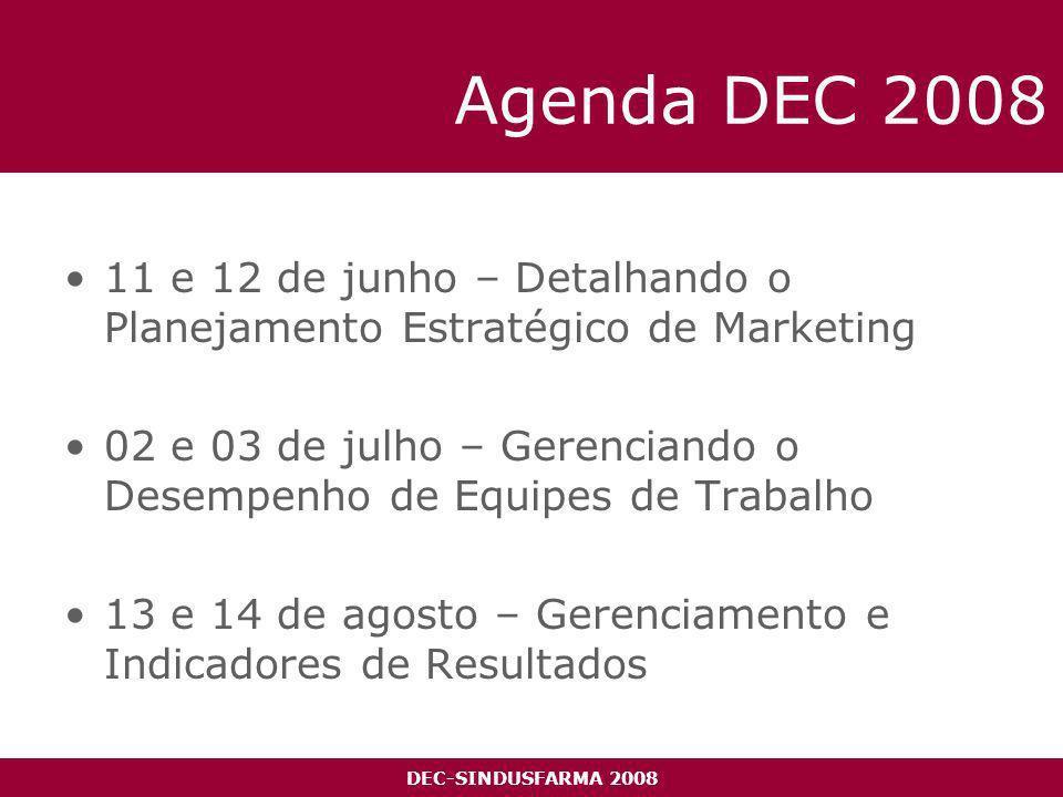 DEC-SINDUSFARMA 2008 Agenda DEC 2008 11 e 12 de junho – Detalhando o Planejamento Estratégico de Marketing 02 e 03 de julho – Gerenciando o Desempenho de Equipes de Trabalho 13 e 14 de agosto – Gerenciamento e Indicadores de Resultados
