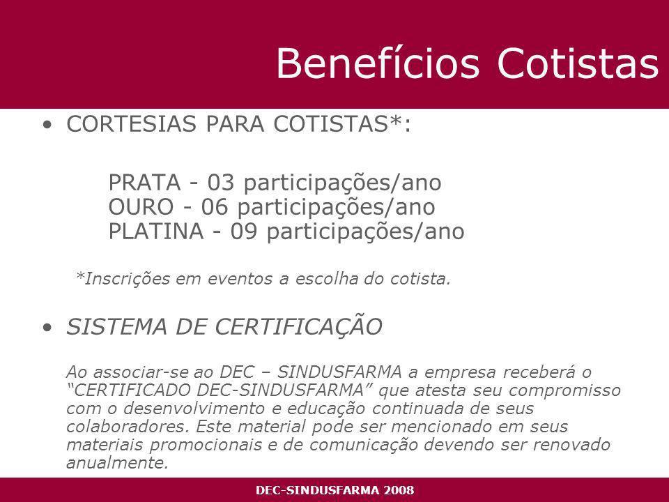 DEC-SINDUSFARMA 2008 Benefícios Cotistas CORTESIAS PARA COTISTAS*: PRATA - 03 participações/ano OURO - 06 participações/ano PLATINA - 09 participações/ano *Inscrições em eventos a escolha do cotista.