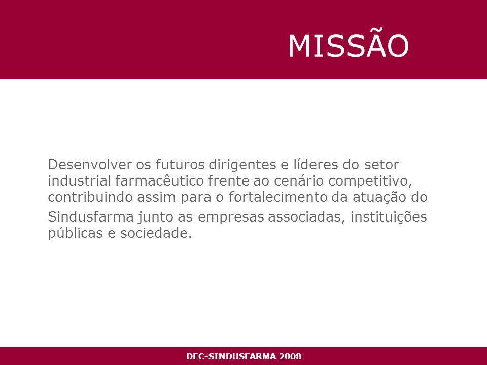 DEC-SINDUSFARMA 2008 MISSÃO Desenvolver os futuros dirigentes e líderes do setor industrial farmacêutico frente ao cenário competitivo, contribuindo assim para o fortalecimento da atuação do Sindusfarma junto as empresas associadas, instituições públicas e sociedade.