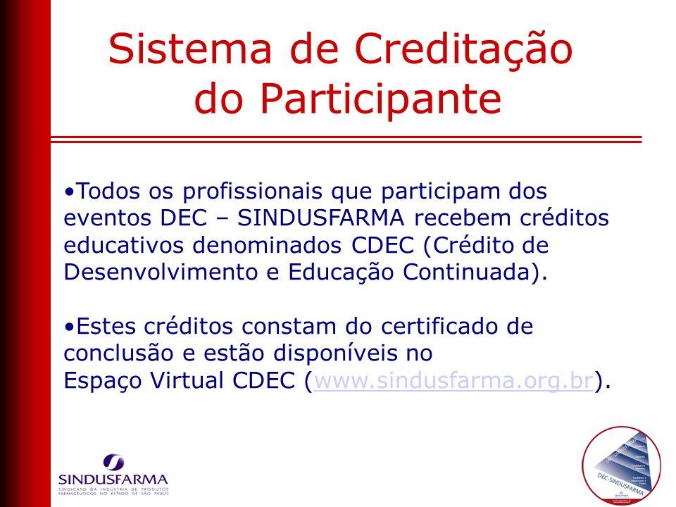 Todos os profissionais que participam dos eventos DEC – SINDUSFARMA recebem créditos educativos denominados CDEC (Crédito de Desenvolvimento e Educaçã