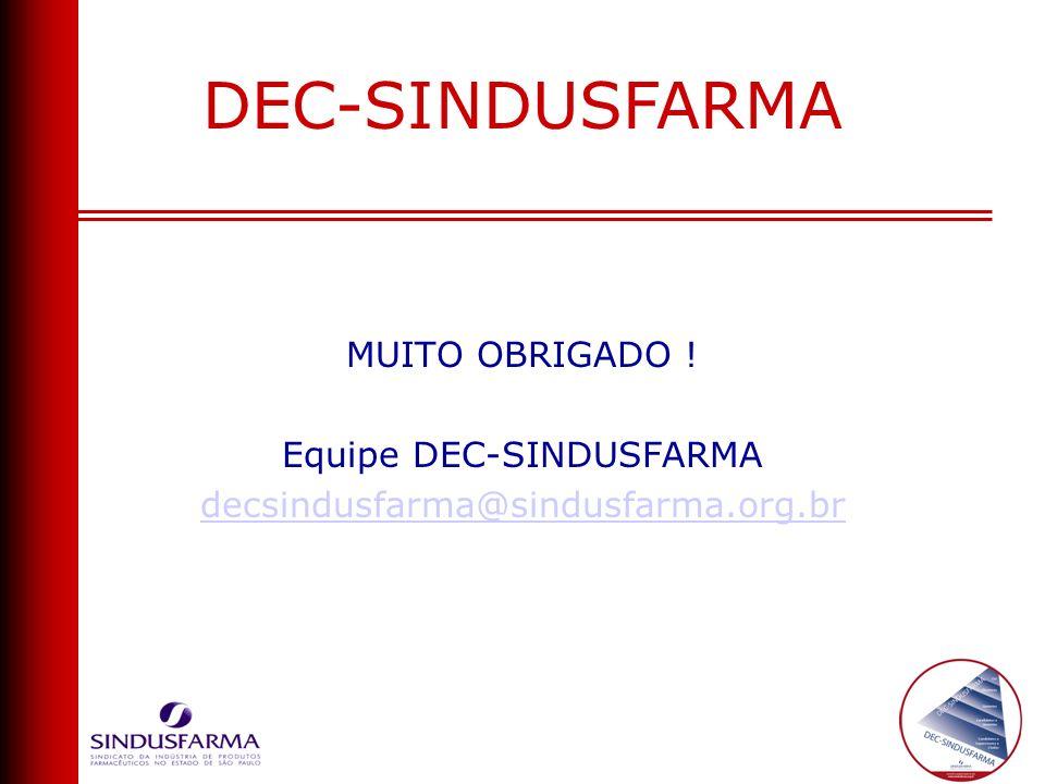 MUITO OBRIGADO ! Equipe DEC-SINDUSFARMA decsindusfarma@sindusfarma.org.br DEC-SINDUSFARMA