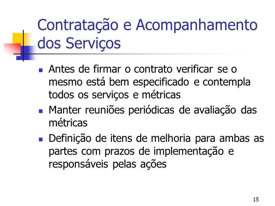 15 Contratação e Acompanhamento dos Serviços Antes de firmar o contrato verificar se o mesmo está bem especificado e contempla todos os serviços e mét