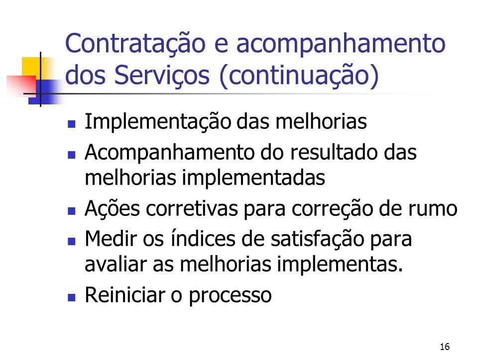 16 Contratação e acompanhamento dos Serviços (continuação) Implementação das melhorias Acompanhamento do resultado das melhorias implementadas Ações c